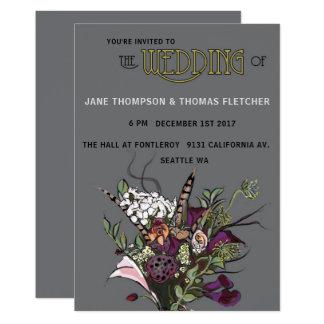 El Victorian florece gris de la invitación