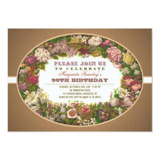 El Victorian florece invitaciones del cumpleaños Invitación 12,7 X 17,8 Cm