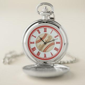 El viejo béisbol se divierte el reloj de bolsillo