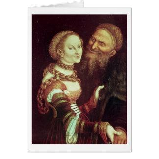 El viejo hombre locamente enamorado, 1553 (aceite  felicitación