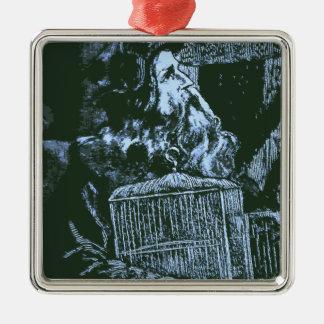 El viejo hombre sabio adorno navideño cuadrado de metal