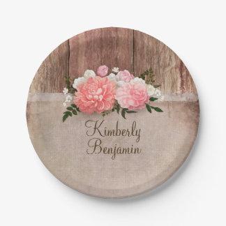El viejo rosa de madera rústico de la arpillera plato de papel