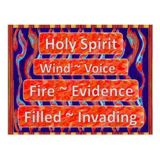 El viento del ~ del ` del Espíritu Santo, fuego, Postal