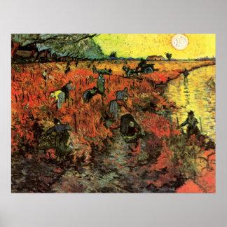 El viñedo rojo de Vincent van Gogh Póster