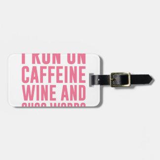 El vino del cafeína y Cuss las palabras Etiqueta Para Maletas