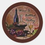 El vino es poesía en botella etiquetas redondas