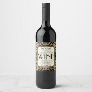 El vino etiqueta art déco oro negro modelo