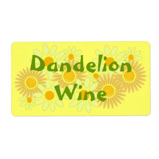 El vino hecho en casa del diente de león de etiquetas de envío