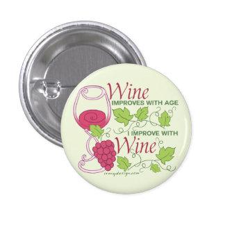 El vino mejora con edad chapa redonda de 2,5 cm