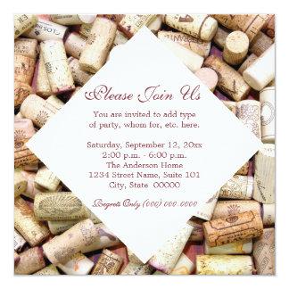 El vino tapa invitaciones con corcho invitación 13,3 cm x 13,3cm