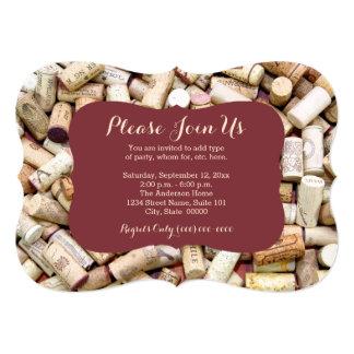 El vino tapa invitaciones con corcho invitación 12,7 x 17,8 cm