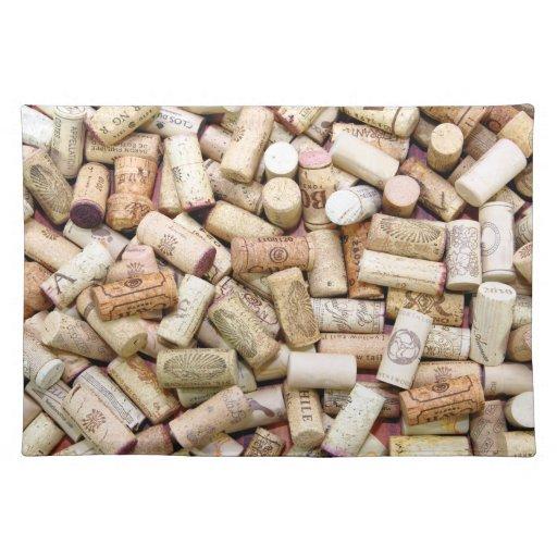 El vino tapa Placemat con corcho Manteles