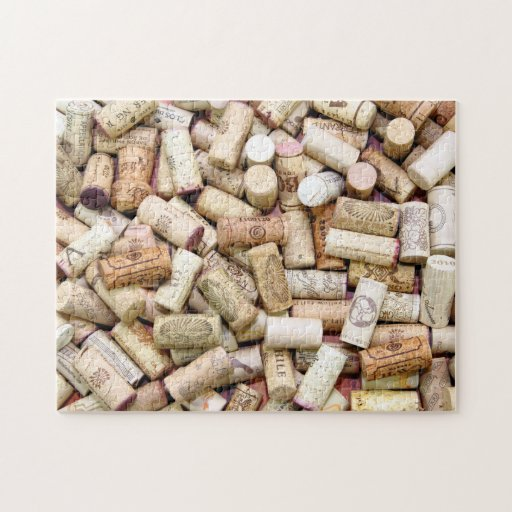 El vino tapa rompecabezas con corcho