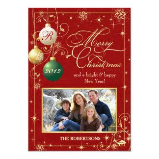 El vintage adorna la tarjeta de Navidad de la foto Invitación 12,7 X 17,8 Cm