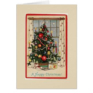 El vintage adornó el saludo del árbol de navidad tarjeta de felicitación