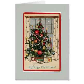 El vintage adornó gris del árbol de navidad tarjeta de felicitación