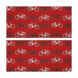 El vintage blanco negro rojo monta en bicicleta el impresion de lienzo