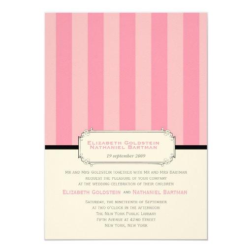 El vintage clásico raya la invitación del boda en invitación 12,7 x 17,8 cm