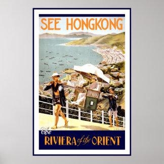 El vintage considera el poster del viaje de Hong Póster