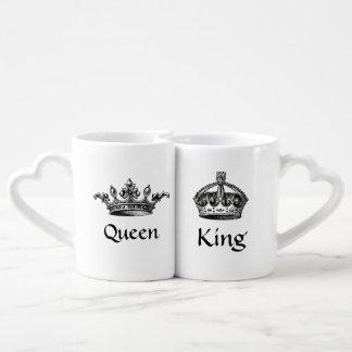 El vintage corona la reina/las tazas de rey LOVE