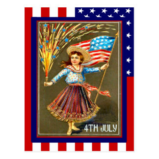 El vintage de la reproducción el 4 de julio, celeb tarjetas postales