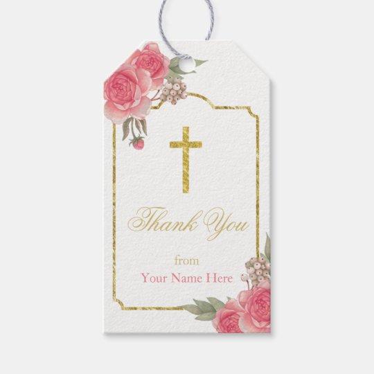 El vintage del bautizo del bautismo floral le etiquetas para regalos