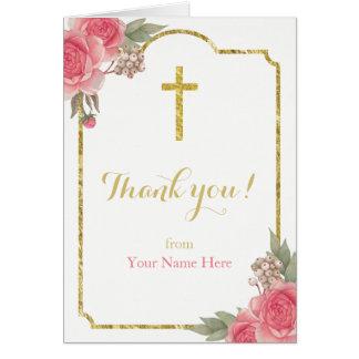 El vintage del bautizo del bautismo floral le tarjeta pequeña