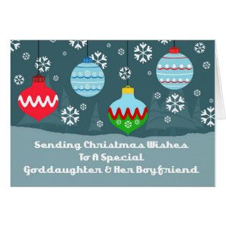 El vintage del novio de la ahijada adorna navidad tarjeta de felicitación