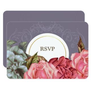 El vintage elegante florece las tarjetas de invitación 8,9 x 12,7 cm