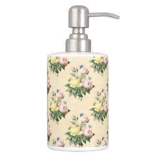 El vintage floral subió el sistema del baño del jabonera