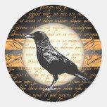 El vintage Halloween Raven nunca más a los Pegatina Redonda