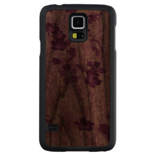 El vintage inspiró color de malva floral funda de nogal para galaxy s5 de carved