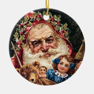 El vintage inusual Santa juega el ornamento del Adorno Navideño Redondo De Cerámica