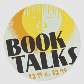 """El vintage """"libro habla"""" a los pegatinas pegatina redonda"""