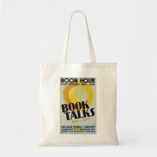 """El vintage """"libro habla"""" la bolsa de asas"""