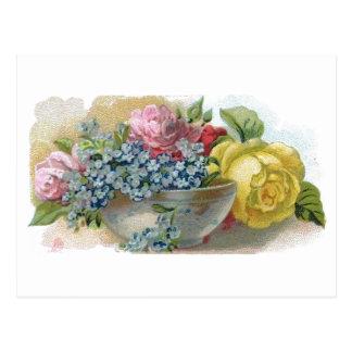El vintage me olvida no postal de los rosas