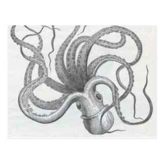 El vintage náutico del pulpo del steampunk kraken postal