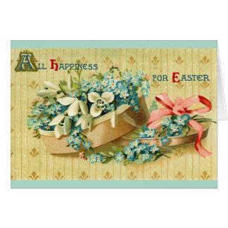El vintage Pascua florece la tarjeta de la caja