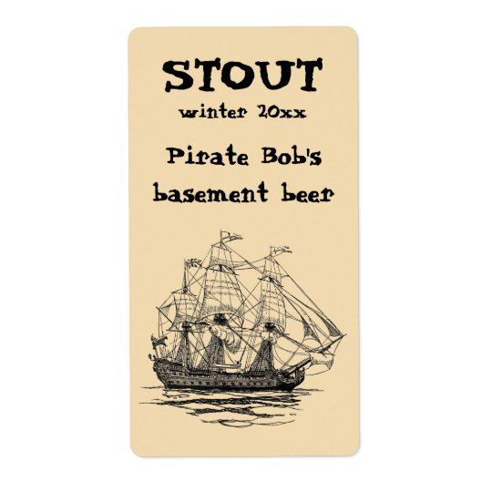 El vintage piratea a Galleon, bosquejo de una nave Etiqueta De Envío