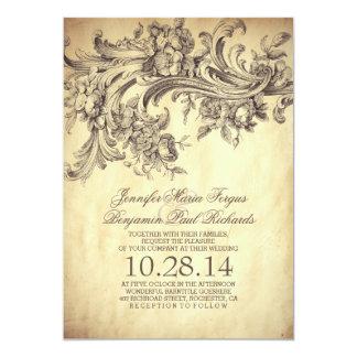 El vintage prospera el boda elegante y de lujo invitación 12,7 x 17,8 cm