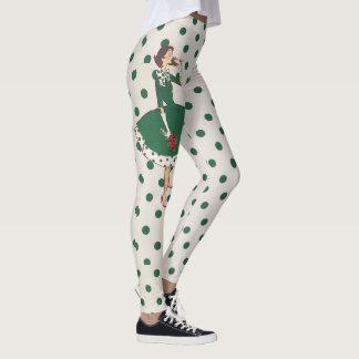 El vintage puntea al chica del navidad leggings