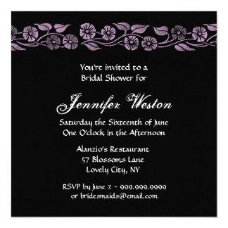 El vintage púrpura y negro florece la ducha del invitación 13,3 cm x 13,3cm