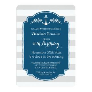 El vintage raya a la 50.a fiesta de cumpleaños invitación 12,7 x 17,8 cm