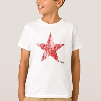 El vintage rojo de la estrella del corredor del camiseta