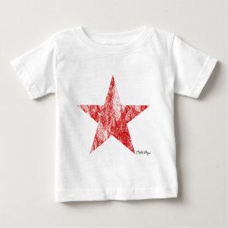 El vintage rojo de la estrella del corredor del camiseta de bebé