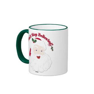 ¡El vintage Santa no para el creer! Taza De Dos Colores