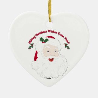 ¡El vintage Santa que hace sueños del navidad Adorno Navideño De Cerámica En Forma De Corazón