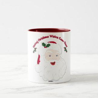 ¡El vintage Santa que hace sueños del navidad Taza De Dos Tonos