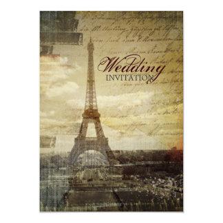 el vintage scripts el boda de la torre Eiffel de Invitación 12,7 X 17,8 Cm