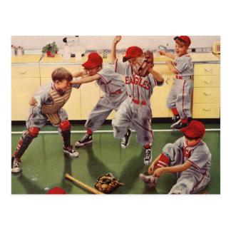 El vintage se divierte al equipo de béisbol, mucha tarjeta postal